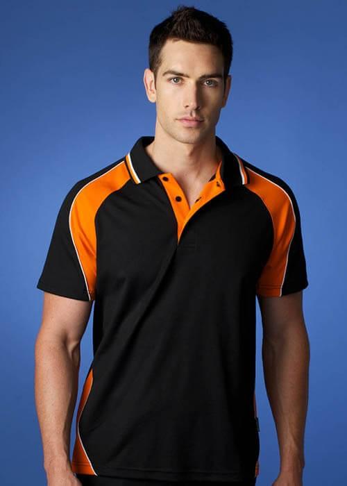 Mens panorama polo team apparel for Orange polo shirt mens